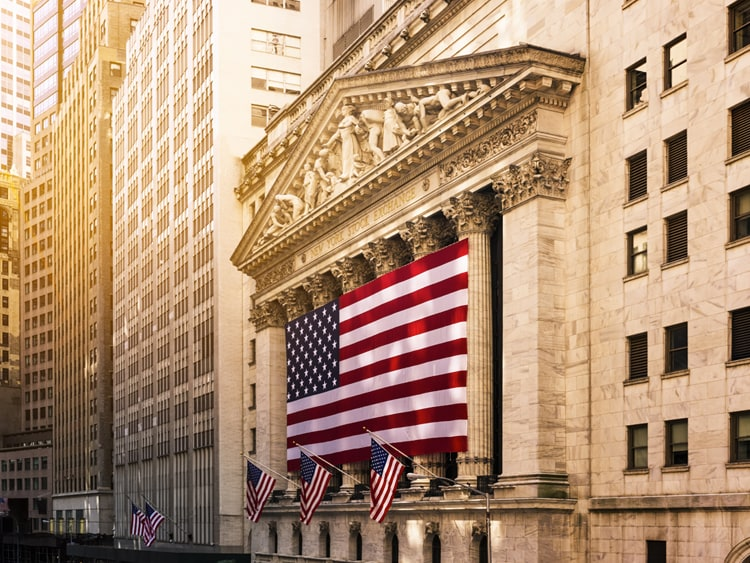 American flag on Wall Street